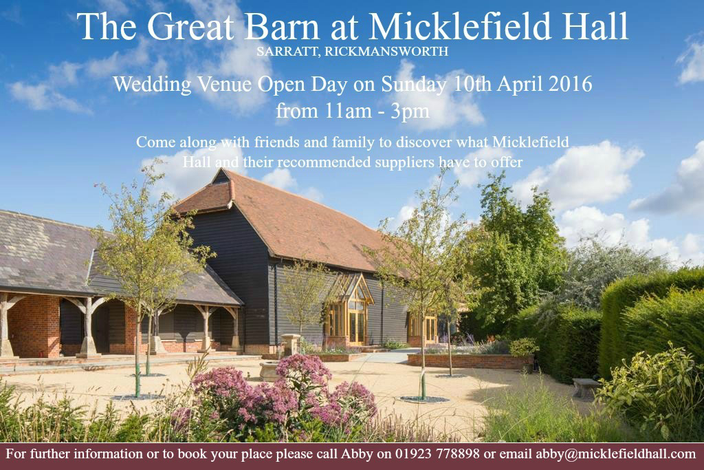 Open Day at Micklefield Hall in Sarrett on Sunday 10th April